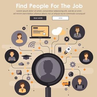 Het concept van professioneel personeel vinden. mensen inhuren