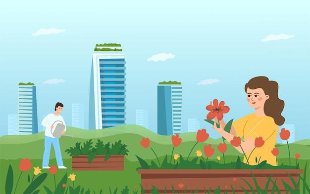 Het concept van stadstuinieren. een vrouw en een man zorgen voor bloemen en planten op de achtergrond van wolkenkrabbers.