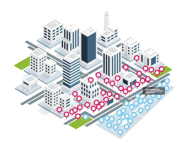 Het concept van virtuele ontmoetingen over de isometrische stad.