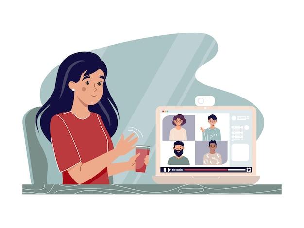 Het concept van werken op afstand en online onderwijs