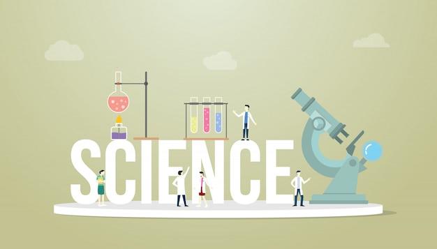 Het concept van wetenschapswoorden met teammensen de hulpmiddelen van het artsenlaboratorium met microscoop en buis