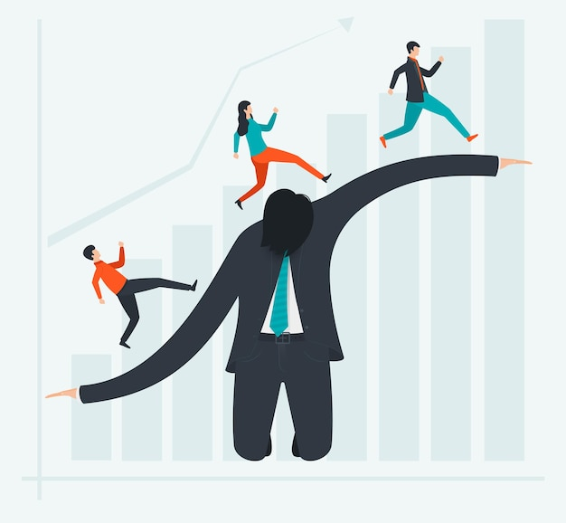 Het concept van winst en bedrijfsontwikkeling met de hulp van een succesvolle menselijke innovator