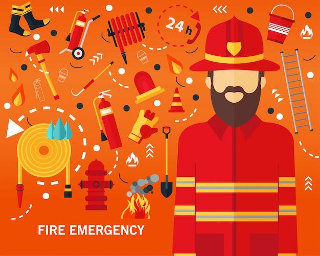 Het concepten vlakke pictogrammen van de brandnoodsituatie achtergrond