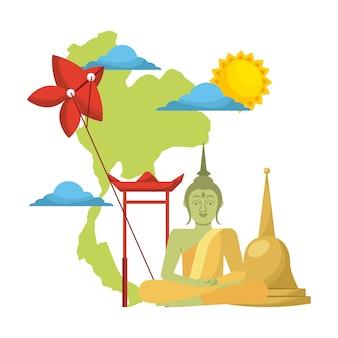 Het conceptenfestival van thailand Premium Vector