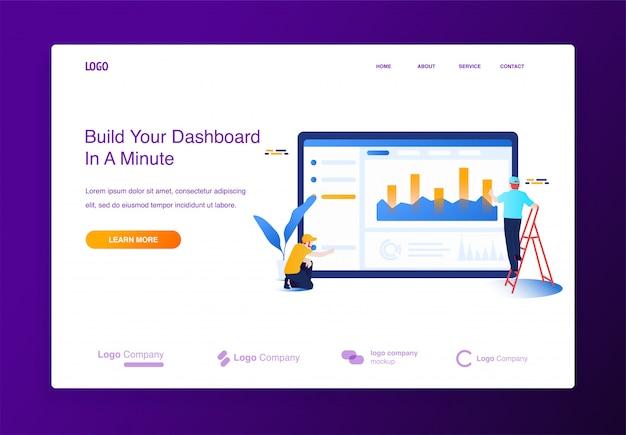Het conceptenmensen die van de illustratie website bouwen, die het met inhoud, dashboardinterface vult.