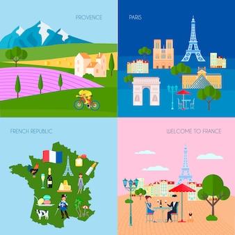 Het conceptenpictogrammen van frankrijk met de symbolen van de provence en van parijs vlak geïsoleerde vectorillustratie worden geplaatst die