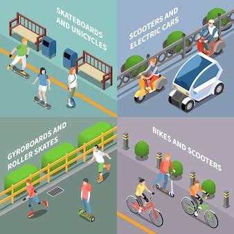 Het conceptenpictogrammen van het ecotransport met fiets en autoped isometrisch geïsoleerd worden geplaatst die