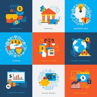 Het conceptenreeks van het financiënontwerp decoratieve elementen voor van het de besparingsgeld van de bankweeginvestering de voorraad vlakke vectorillustratie van de geldvoorraad