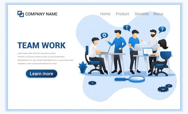 Het conceptontwerp van het teamwerk met mensen werkt aan lijst.