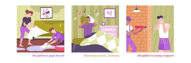 Het conflict van huisburen dat met geïsoleerde vlakke geïsoleerde symbolen van de ochtendmuziek wordt geplaatst