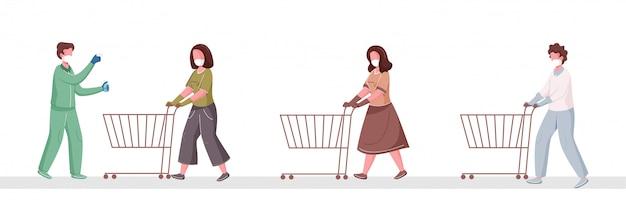 Het controleren van de lichaamstemperatuur voor het betreden van de supermarkt en het reinigen van mensen die sociale afstand in de wachtrij houden met een winkelwagentje om coronavirus te voorkomen.