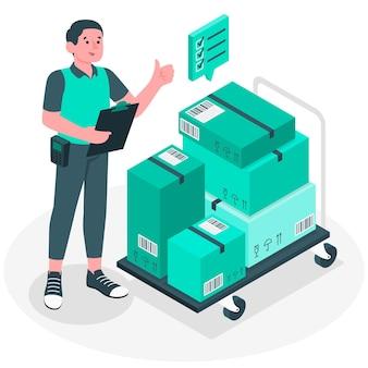 Het controleren van dozen concept illustratie