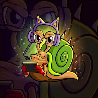 Het coole gamer snail esport logo-ontwerp van illustratie