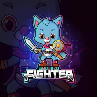 Het coole krijger fighter cat esport logo-ontwerp van illustratie