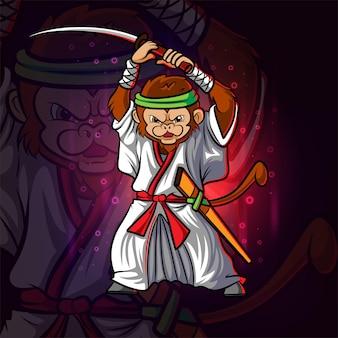 Het coole samurai-aap esport-mascotteontwerp van illustratie