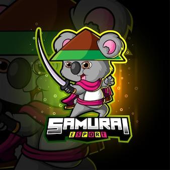 Het coole samurai koala esport-logo-ontwerp van illustratie