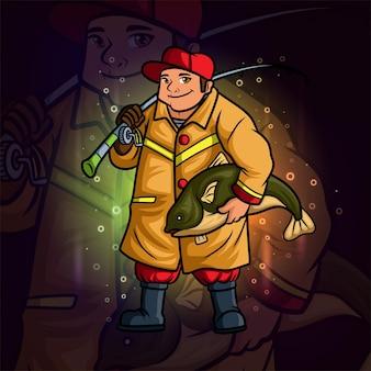 Het coole visser esport-logo-ontwerp van illustratie