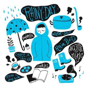 Het dagelijkse gebruik in de regenachtige dag. verzameling van hand getrokken, vectorillustratie in schets doodle stijl.