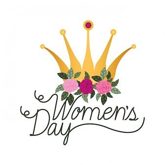 Het daglabel van vrouwen met rozen geïsoleerd pictogram