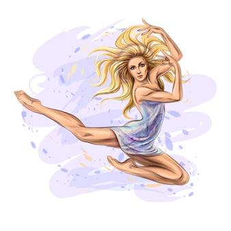Het dansende meisje. hand getekend meisje gymnast. vector illustratie.