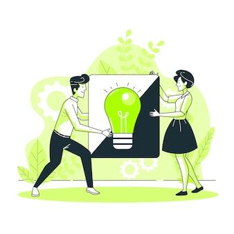 Het delen van ideeën concept illustratie