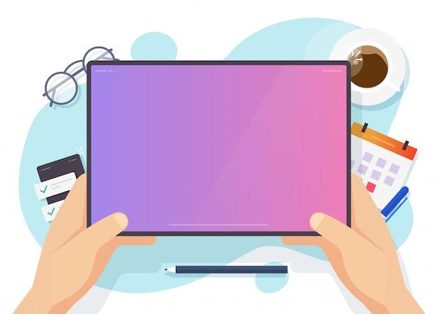 Het digitale lege lege scherm van de tabletcomputer voor exemplaar ruimtetekst op werktafel of lege vertoning in mensenhand boven het vlakke beeldverhaal van de werkplaatsillustratie