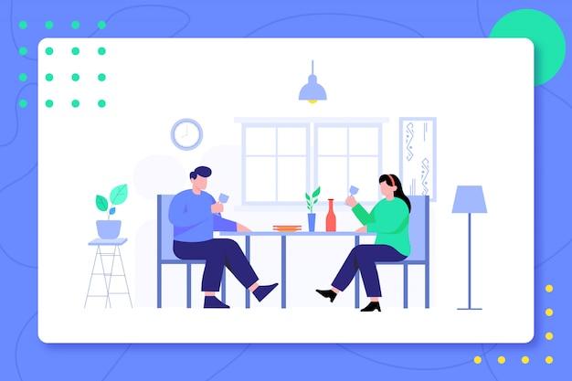 Het diner van het familiepaar in de illustratie van het eetkamerontwerp