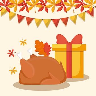 Het diner van turkije met giftdoos van thanksgiving day