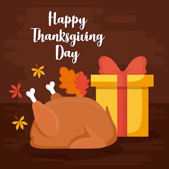 Het diner van turkije met giftdoos van thanksgiving daykaart