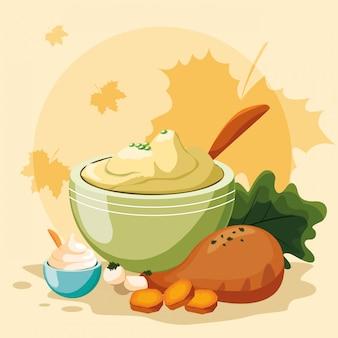 Het diner van turkije van thanksgiving day met doorbladert