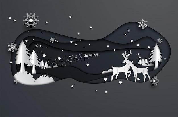 Het document sneed stijlrendier en de kerstman, kerstmis, gelukkig nieuw jaar.