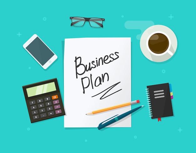 Het document van het businessplan blad op werkend tafel vectorconcept