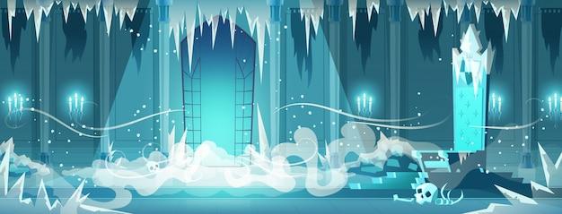 Het dode kasteel bevroren beeldverhaal van de troonruimte