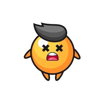 Het dode pingpongbal-mascottekarakter, schattig stijlontwerp voor t-shirt, sticker, logo-element