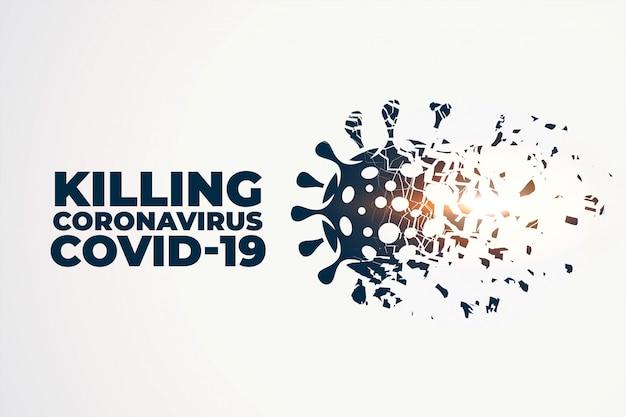Het doden of vernietigen van coronavirus covid-19 concept achtergrond