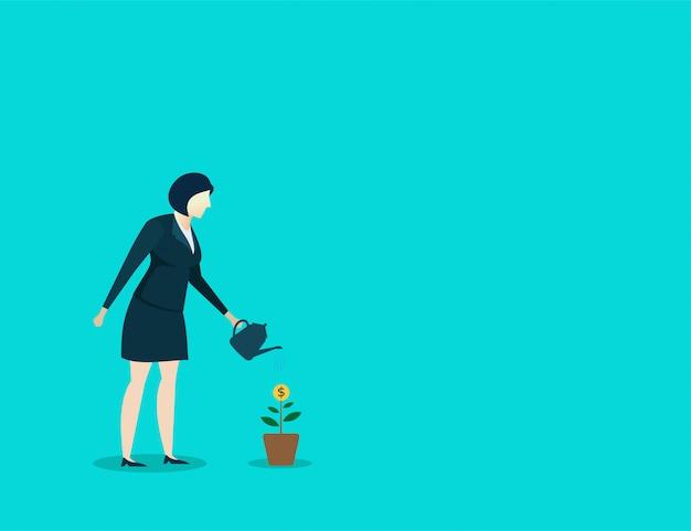 Het doelfinanciën van de bedrijfsvrouw het water geven plantengroei
