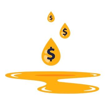 Het dollarteken in een druppel valt in een benzinepoel.