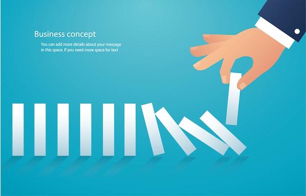 Het domino-effect. bedrijfs concept