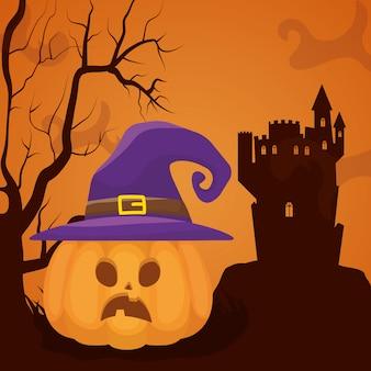 Het donkere kasteel van halloween met pompoenen