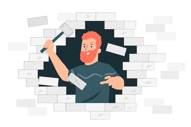 Het doorbreken van barrières concept illustratie