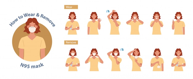 Het dragen en verwijderen van het n95-masker correct. vrouwen die de juiste methode voor het dragen van een masker presenteren, om de verspreiding van ziektekiemen, virussen en bacteriën te verminderen. illustratie in een vlakke stijl