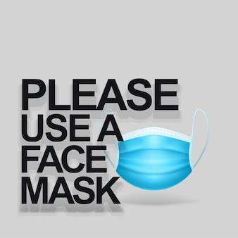 Het dragen van een realistisch gezichtsmasker teken vooraanzicht met tekst