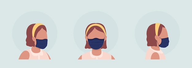 Het dragen van geplooid masker semi-egale kleur vector avatar tekenset. portret met gasmasker van voor- en zijaanzicht. geïsoleerde moderne cartoon-stijlillustratie voor grafisch ontwerp en animatiepakket