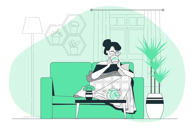 Het drinken van thee concept illustratie