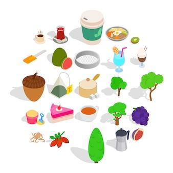 Het drinken van thee iconen set, isometrische stijl