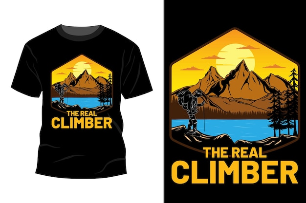 Het echte klimmer t-shirt design vintage retro