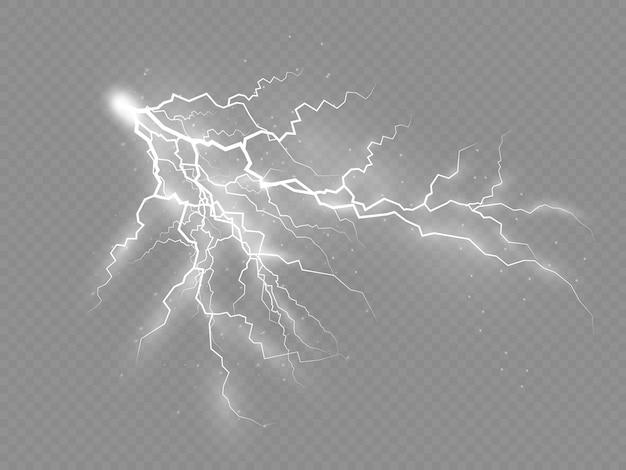 Het effect van bliksem en verlichting, onweer en bliksem.