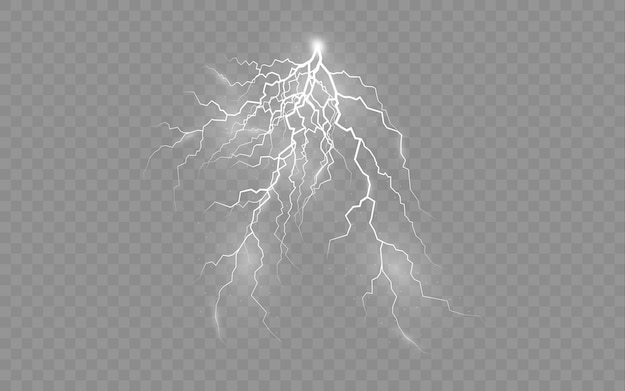Het effect van bliksem en verlichting set ritsen onweer en bliksem licht en glans