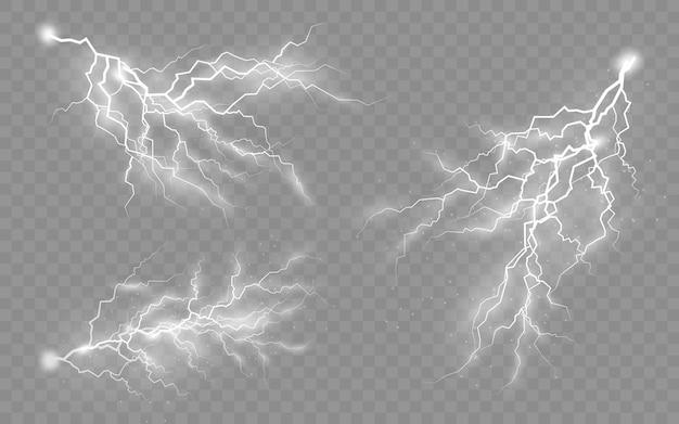 Het effect van bliksem en verlichting, set ritsen, onweer en bliksem, symbool van natuurlijke kracht of magie, licht en glans, abstract, elektriciteit en explosie, vectorillustratie, eps 10