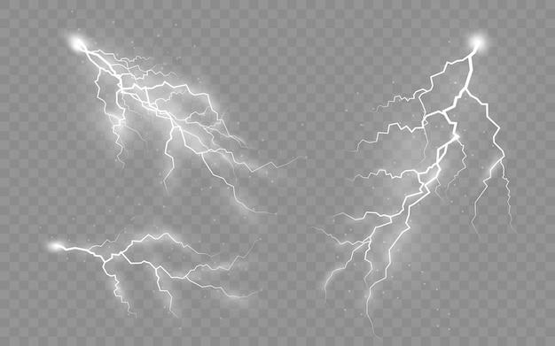 Het effect van bliksem en verlichting set ritsen onweer en bliksem vectorillustratie